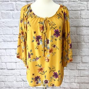 Tops - Yellow/Purple Floral 3/4 sleeve Blouse Size S